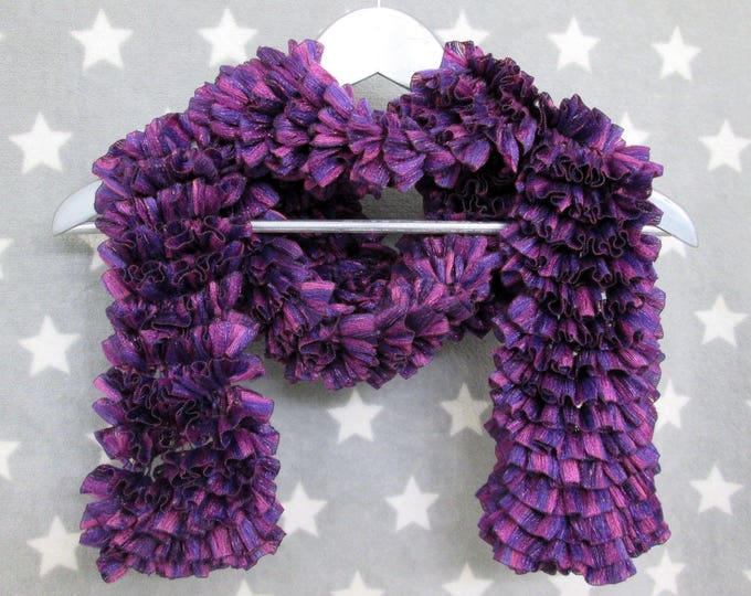 Feathery Ruffle Scarf - Purple Sparkles