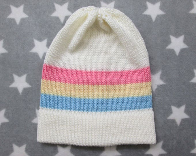 Knit Pride Hat - Pastel Pan Pride - White - Slouchy Beanie - Acrylic
