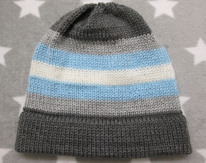 Knit Pride Hat - Demiboy Pride - Fitted Beanie - Acrylic