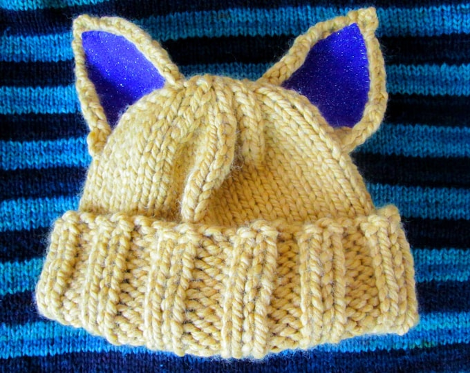 Cat Hat - Yellow - Purple Glitter Ears - Acrylic Wool Blend