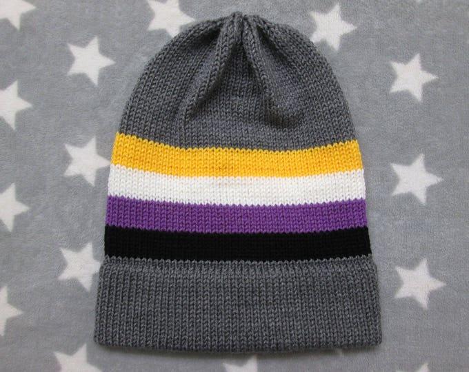 Knit Pride Hat - Nonbinary Pride - Grey - Slouchy Beanie - Acrylic