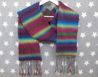 Knit Scarf - Jeweltones - Acrylic