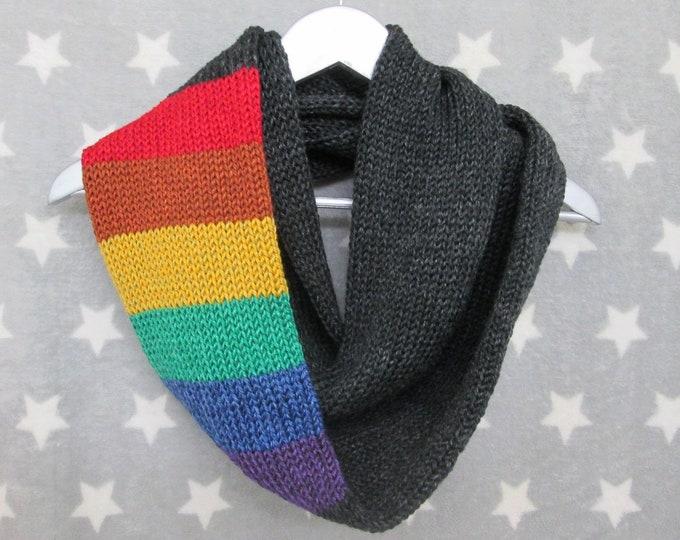 Rainbow Pride Infinity Scarf - LGBT Rainbow - Heathered Black - Acrylic