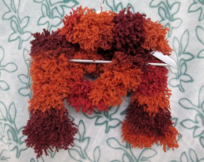 Furry Monster Scarf - Reds and Orange