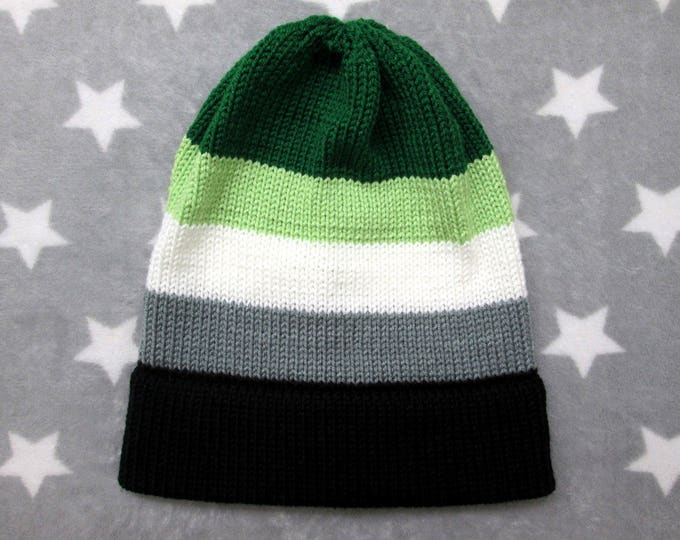 Knit Pride Hat - Aromantic Pride - Slouchy Beanie - Acrylic