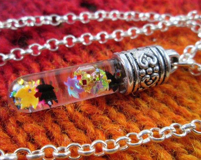 Glitter Liquid Necklace - Rainbow Autumn Leaves and Gold - Silver Vial