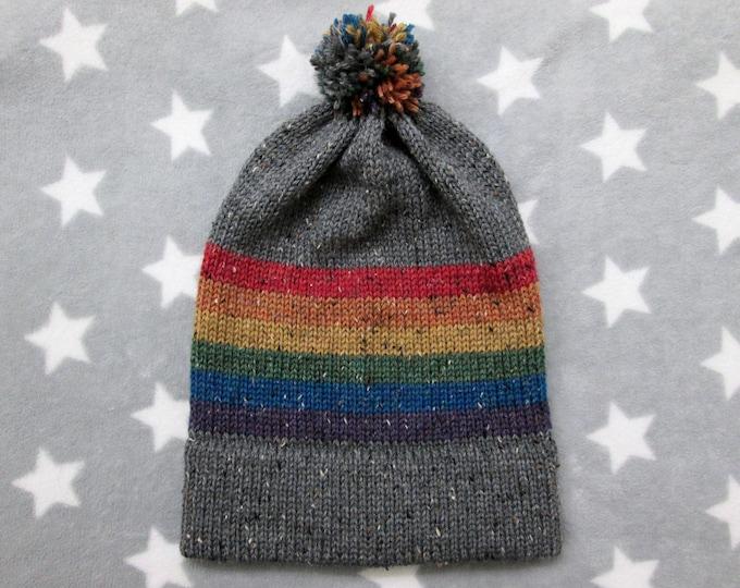 Knit Pride Hat - LGBT Rainbow - Grey Wool Tweed - Big Slouchy Beanie