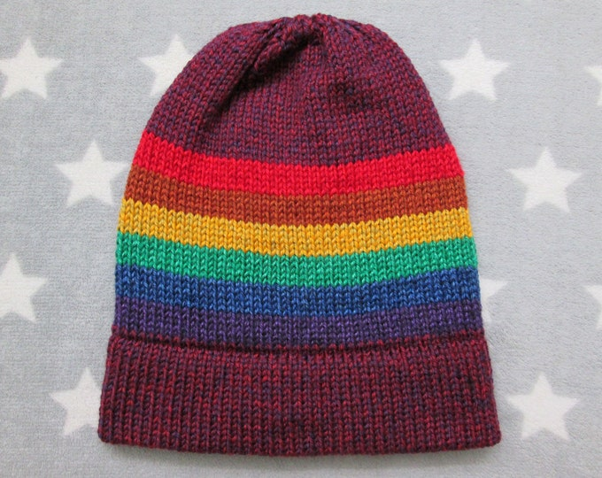 Knit Pride Hat - LGBT Rainbow - Heathered Purple - Slouchy Beanie