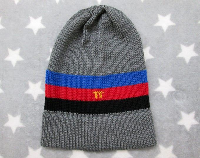 Knit Pride Hat - Polyamory Pride - Grey - Slouchy Beanie - Acrylic