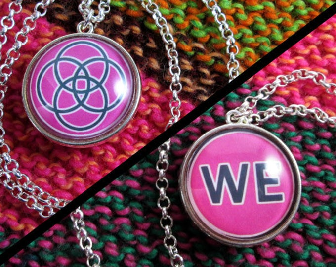 Double-Sided Necklace - Multiplicity - Pink - Silver Chain