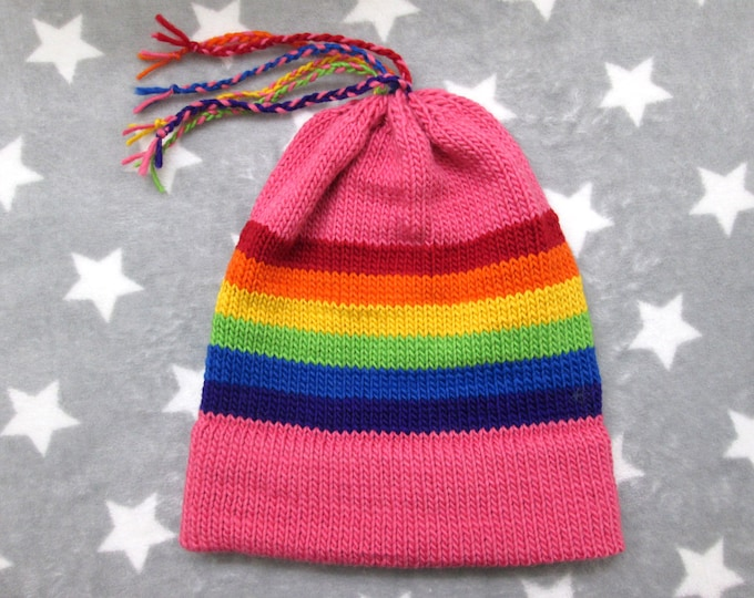 Knit Pride Hat - LGBT Rainbow - Pink Wool Mohair Beanie