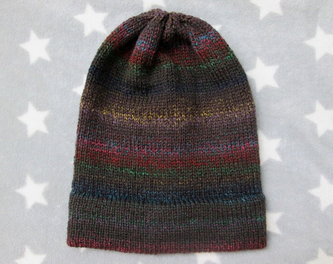 Knit Hat - Gradient - Dark Brown and Colors - Slouchy Beanie