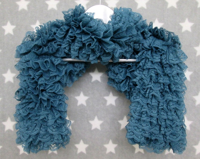 Lace Ruffle Scarf - Teal