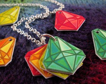 Mood Gem Neclace - Green Yellow Orange Red - Communication Necklace - Silver Rolo Chain