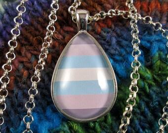Demiguy Pride - Demiboy Pride Flag Pendant Necklace - Silver Teardrop