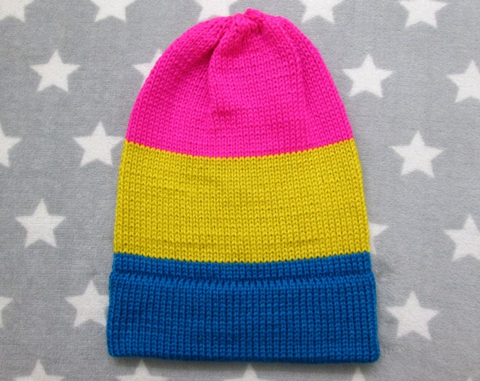 Knit Pride Hat - Pan Pride - Slouchy Beanie - Soft Wool Acrylic Blend - Vivid Colors