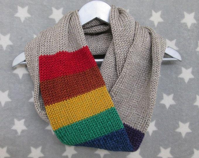 Rainbow Pride Infinity Scarf - LGBT Rainbow - Heathered Taupe - Acrylic