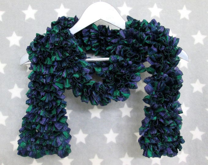 Feathery Ruffle Scarf - Navy Blue Green Purple Sparkles