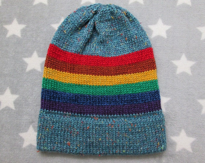 Knit Pride Hat - LGBT Rainbow - Light Blue Tweed - Slouchy Beanie