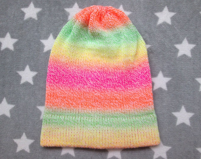 Knit Hat - Neon Pastel Gradient - Yellow Green Orange Pink White - Slouchy Beanie