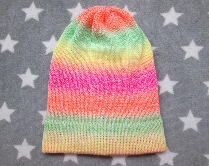 Knit Hat - Neon Pastel Gradient - Yellow Green Orange Pink White - Slouchy Beanie - Acrylic