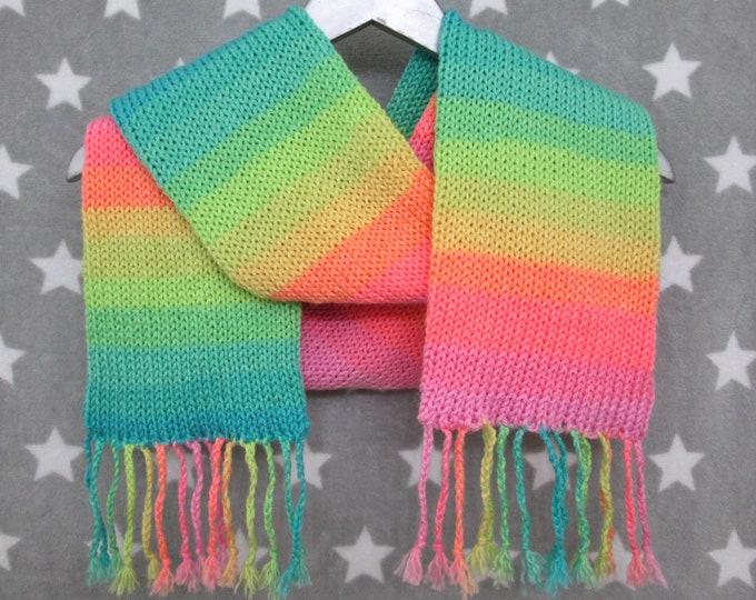 Pastel Rainbow Pride Scarf - LGBT - Pastel Mirrored Stripe Scarf - Acrylic