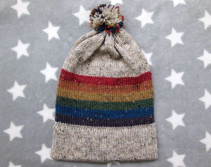 Knit Pride Hat - LGBT Rainbow - Cream Wool Tweed - Big Slouchy Beanie