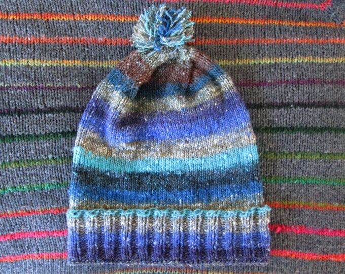 Knit Slouchy Noro Hat - Chocolate Blueberry