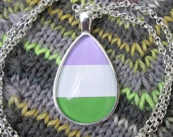 Genderqueer Pride - Non-Binary Pride Flag Pendant Necklace - Silver Teardrop