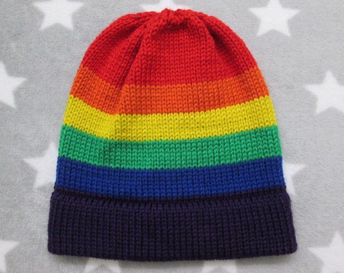Knit Pride Hat - LGBT Rainbow - Fitted Beanie - Soft Wool Acrylic Blend