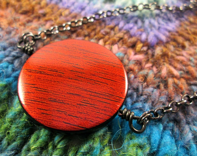 Spinner Pendant Necklace - Copper Red Metallic - Long Chain