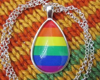LGBT Pride - Rainbow Pride Flag Pendant Necklace - Silver Teardrop