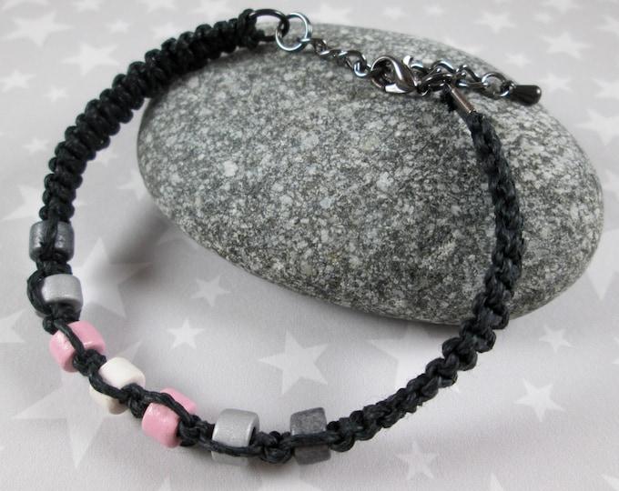 Hemp Pride Bracelet - Demigirl Pride - Black - Ceramic Beads