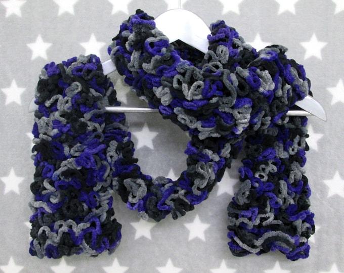 Brain Scarf - Purple Black Grey