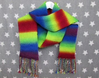 Rainbow Pride Scarf - LGBT - Long Gradient Scarf With Fringe
