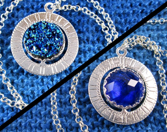Spinner Pendant Necklace - Silver and Blue Gems - Stim Jewelry