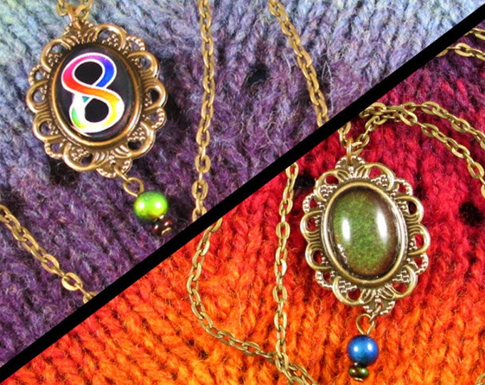 Neurodiversity Pride - Double-Sided Mood Stone & Rainbow Infinity Necklace - Bronze