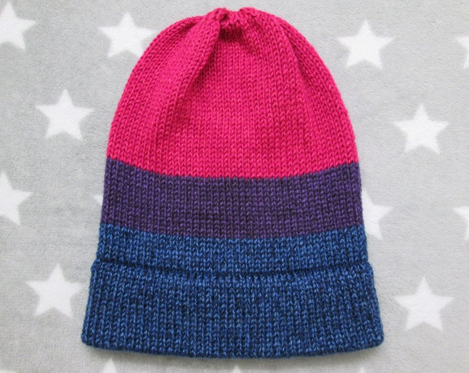 Knit Pride Hat - Bi Pride - Heathered - Slouchy Beanie - Acrylic