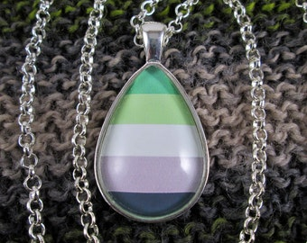 Aromantic Pride - Aro Pride Flag Pendant Necklace - Flag 1 - Silver Teardrop
