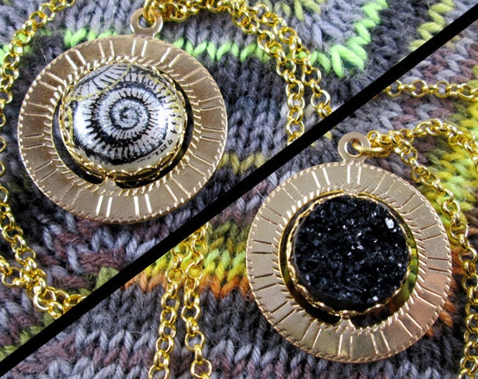 Spinner Pendant Necklace - Gold, Black & White Snail Swirl - Stim Jewelry