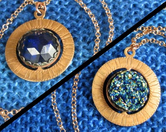 Spinner Pendant Necklace - Brass and Blue Gems - Stim Jewelry