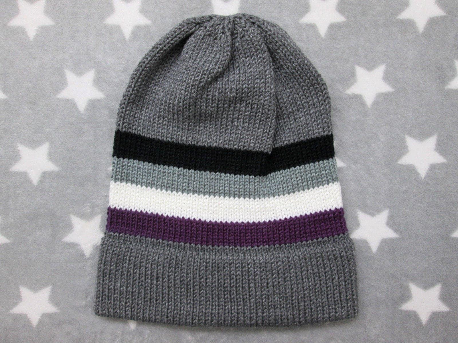 e833ffb7ad8 Knit Pride Hat - Ace Pride - Grey Slouchy Beanie - Grey Ace Pride
