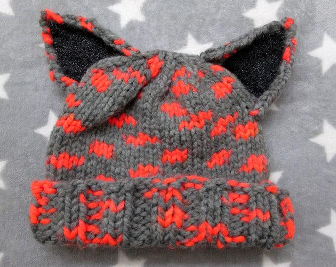 Cat Hat - Grey & Neon Orange - Glitter Ears