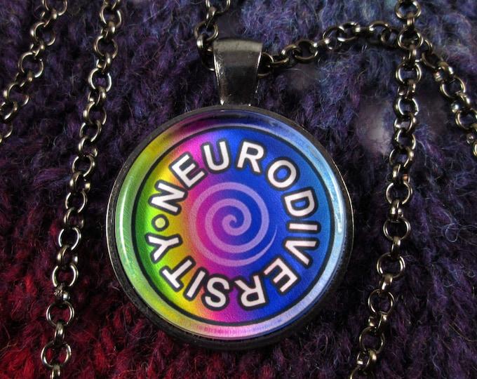 Neurodiversity Necklace - Dark Rainbow - Round Swirl Design - Gunmetal Rolo Chain
