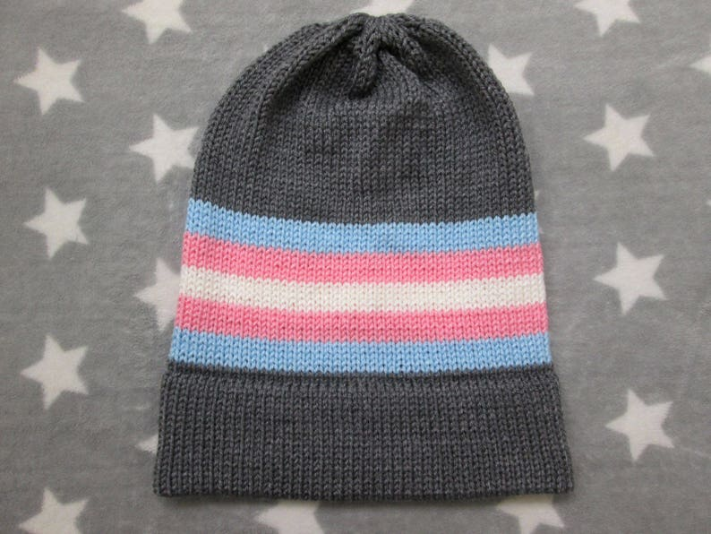5561341205f Knit Pride Hat Trans Pride Grey Slouchy Beanie Acrylic