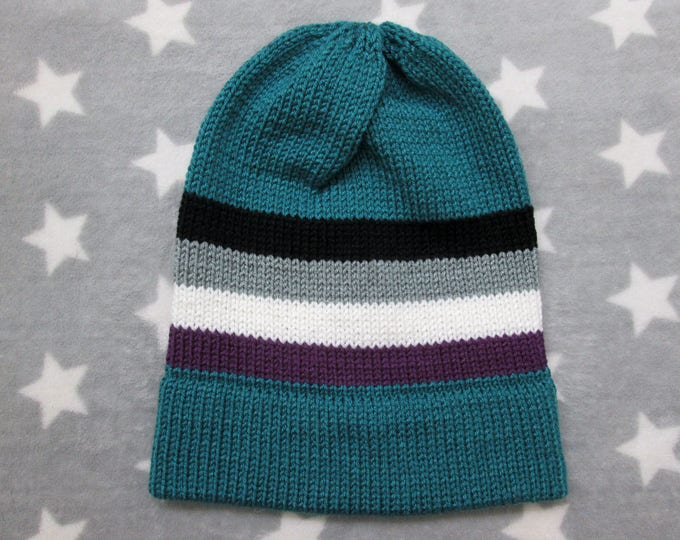 Knit Pride Hat - Ace Pride - Teal Slouchy Beanie - Acrylic