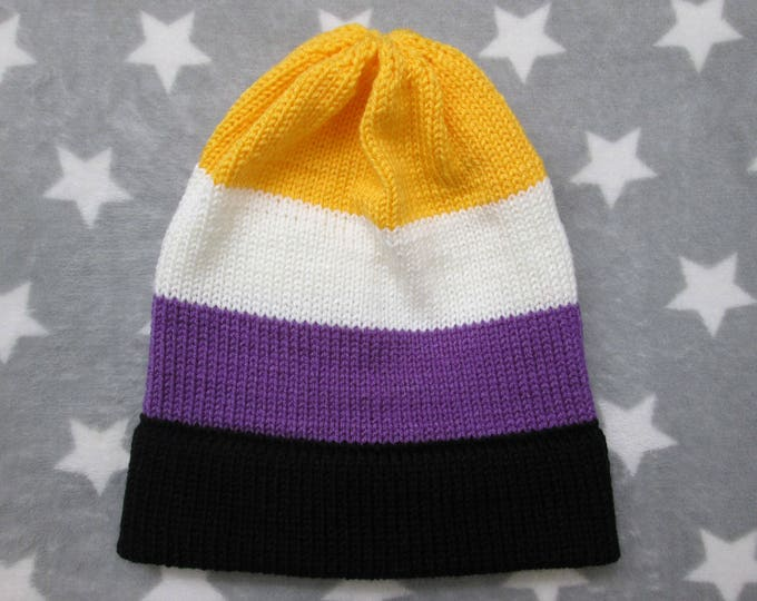 Knit Pride Hat - Nonbinary Pride - Slouchy Beanie