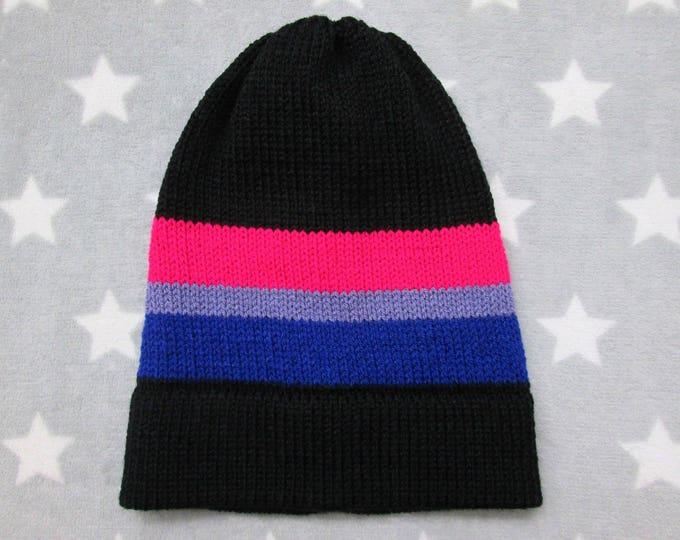 Knit Pride Hat - Bi Pride - Slouchy Beanie - Black & Vivid Colors