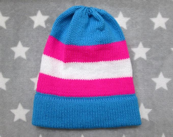 Knit Pride Hat - Trans Pride - Neon Slouchy Beanie
