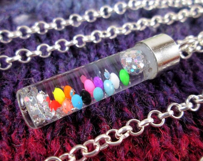 Glitter Liquid Necklace - Rainbow Vial - Silver Chain
